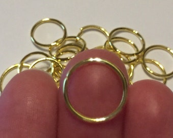 20 Open Jump Rings Gold Plated 14mm dia. - FD300