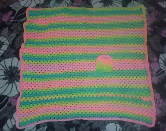 Crochet baby blanket with matching hat