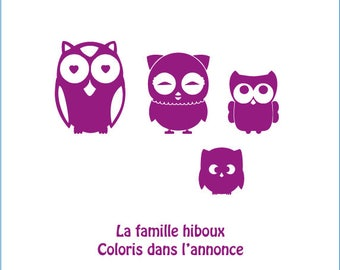 Family of owls stickers: for home decor, entry room deco... car sticker vinyl