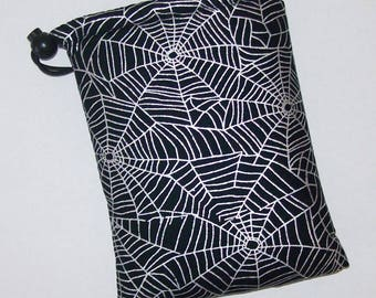 """Pipe Pouch, Spiderwebs Bag, Glass Pipe Case, Glass Pipe Bag, Stoner Gift, Goth, Cannabis, Padded Pipe Pouch, Smoke Accessory - 7"""" DRAWSTRING"""