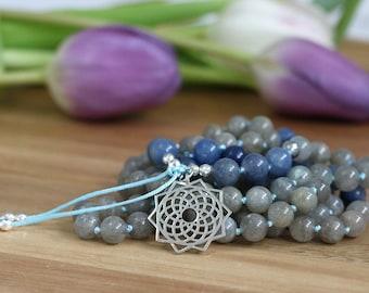 Labradorite mala necklace, blue aventurine mala 108, yoga mala necklace, long necklace, japa mala, mala with pendant, gift for yogi, reiki