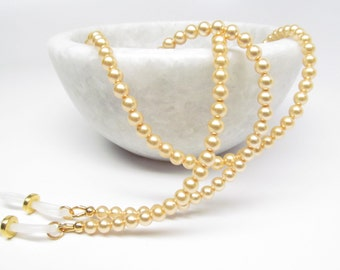 Bright gold pearl eyeglasses chain, gold eyeglass chain, reading glasses chain, eye glasses chain, eyeglasses holder, glasses necklace