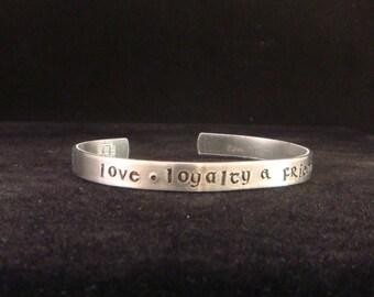 Irish Bracelet - Personalized Message Cuff in Irish Font - Thin Cuff in Aluminum - Love, Loyalty, Friendship