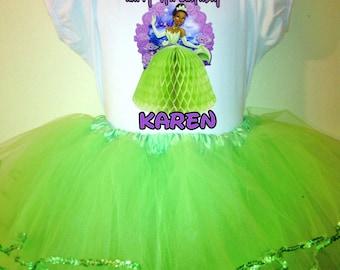 Princess Tiana Dress 1T,2T,3T,4T,5T,6T,7T,8T 2Pc birthday tutu Dress