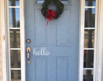 Front Door Decal, Front Door Hello Vinyl Sticker, Home Decor, Hello Home Decor