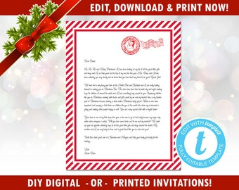 INSTANT DOWNLOAD - DIY Editable Letter From Santa - Easy - Santa Letter - North Pole Letter, Editable Template, Templett [id:123737]