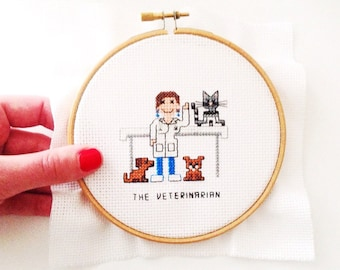 Completed cross stitch funny. Gift for veterinarian. Custom Cross Stitch portrait. Vet assistant gift. Handmade art gift