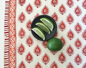 Hand Block Printed Fabric - Bohemian Fabric by the Yard - Cotton Print from India - Natural Dyes