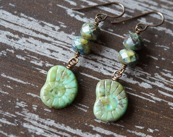 Shell Earrings - Earthy Rustic Earrings - Beach Jewelry - Boho Jewelry - Turquoise Earrings - Bead Soup Jewelry