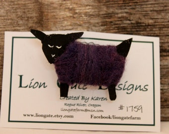 Sheep, Needle Felted  Purple Sheep Pin, Wearable Lammies in Jammies, Felted Sheep Brooch, # 1759