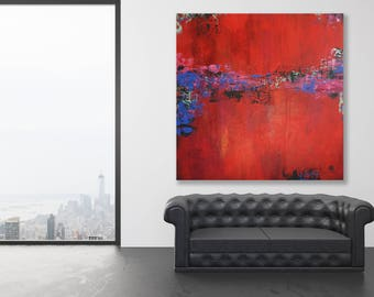Large Red Abstract Painting / Colorful Original Art / Texture Painting / Red Abstract Art / Colorful Abstract Art . Oversized Painting