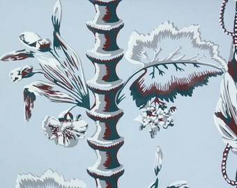 1950s Vintage Wallpaper by the Yard - Bamboo and Drapery Blue and Burgundy