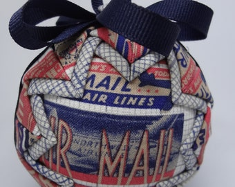 Quilted Fabric Ornament Red White Blue Vintage Ephemera Air Mail Postal