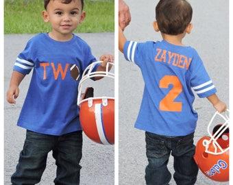 Football birthday shirt, boys birthday shirt,  football shirt, football birthday party, football party, 2nd birthday shirt, second birthday