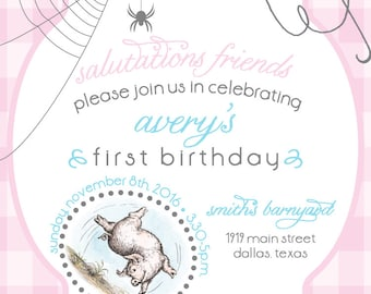 Charlotte's Web Birthday Invite