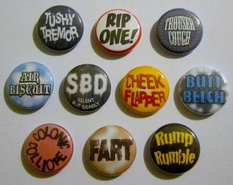 10 FART pinback buttons