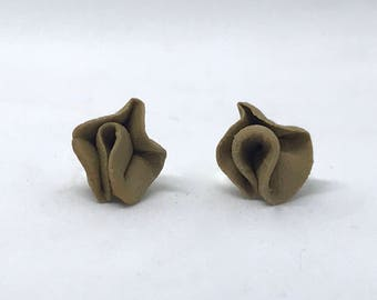 Brown Ceramic Stud Earrings