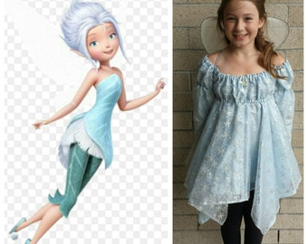 Upcycled Peter Pan Costume Custom Periwinkle Frost Fairy Costume (Ice Blue Snowflake Dress and Wings) Tinkerbell and Friends Child/Youth  sc 1 st  Etsy & Upcycled Peter Pan Costume Tinkerbell Fairy Tutu Only Lime