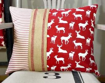 Deer Pillow, Red Pillow Cover, Red and White Ticking Cabin Pillow, Jute Webbing, Christmas Farmhouse Cottage