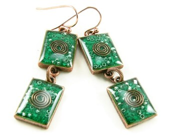 Orgone Energy Earrings - Malachite and Copper Gemstone Dangle Earrings - Geometric Rectangle Earrings - Positive Energy - Artisan Jewelry