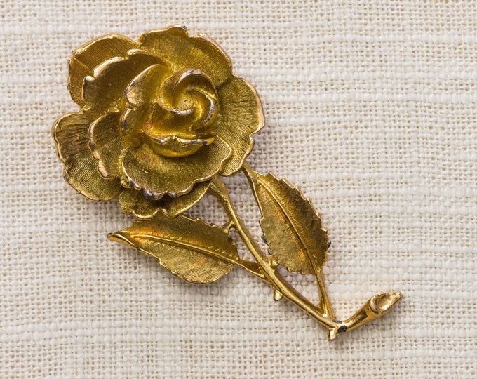 Gold Flower Brooch Etched Large Floral Vintage Broach Pin 7YY