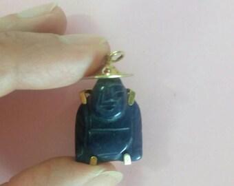 Vintage Buddha pendant semiprecious stone hand carved 60s