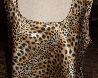 SALE Womens Vintage Silky Animal Leopard Print Tank Top Large 90's