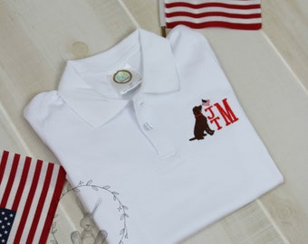 4th of July Lab Monogrammed Polo