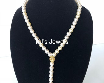 Pearl Lariat Necklace with Gold Accent Beads