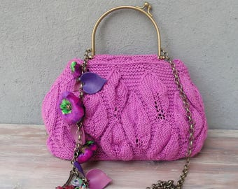 Knitted Purple Bag, Hand Knitted Bohemian Purse, Flowers, Leaves and Beads, Little Bag, Chain Strap, Kiss-lock