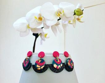 Teal pink black gold dangly fan earrings polymer clay
