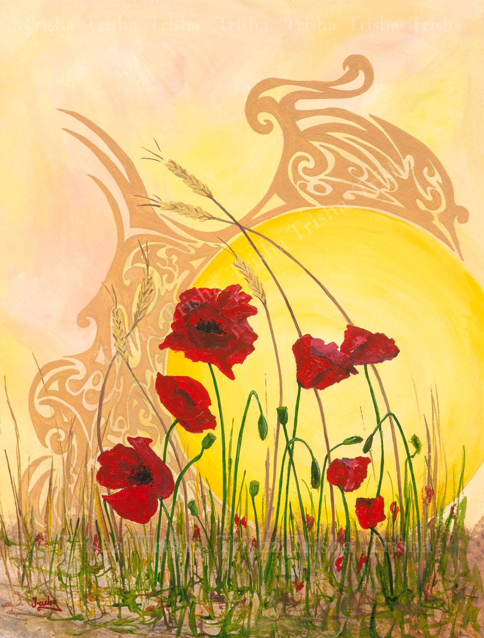 Through the Poppyfield Limited edition print red poppies
