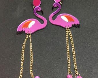Flamingo stud dangle acrylic mirror earrings