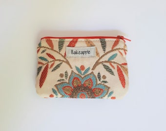 Summer Floral Zippered Coin Purse, Coin Pouch, Zip Pouch, Card Pouch, Change Purse, Upcycled Zip Pouch