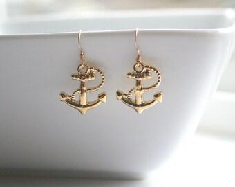 Gold anchor earrings - GOLD ANCHOR