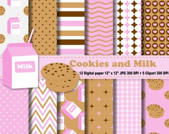 Milk And Cookies Digital Paper, Milk And Cookies Clipart, Birthday Invitation, Digital Scrapbooking, Chevron And Polka Dot, Commercial Use.