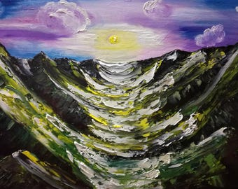 New day, sky, landscape, mountains, gift, palette knife