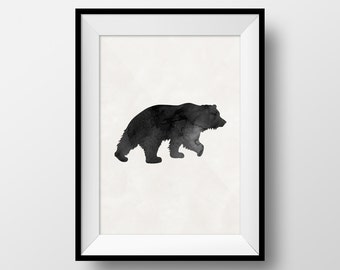 Bear Art, Wildlife Art, Animal Art, Animal Poster, Nursery Art, Nursery Animal Art, Hunting Art, Hunting Poster, Animal Watercolor