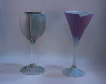 Retired Newman Ceramic Works Cala Lily and Tulip Wine Goblets