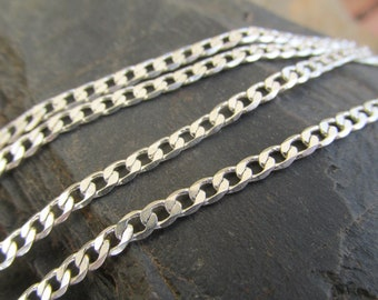 Sterling silver chain necklace diamond cut curb link chain vintage sterling silver chain 925 vintage silver necklace vintage jewelry gift.