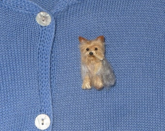 Pet Gift  Your dog as a cute Pin / Custom  Needle Felted Miniature Portrait / Sculpture Brooch / example Yorkie