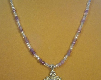 "Beautiful Amethyst Pendant on 18"" necklace - N316"