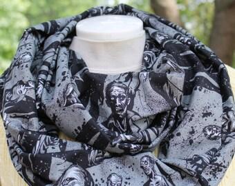 Infinity Scarf. Scarf. Zombie scarf. Zombie infinity scarf. Walking dead scarf. Sugar skull scarf. Day of the dead scarf. Gift. Circle scarf