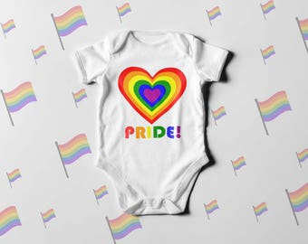 PRIDE Heart One Piece or T-shirt, Pride Bodysuit, Kids Pride shirt, Kids Pride T-Shirt, Gay Pride, LGBT Bodysuit, LGBTQ+ Baby,  lgbt kids