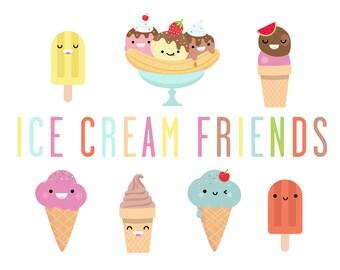 Ice cream friends - vector illustrations