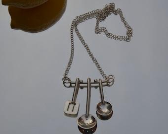Sterling silver spoon, sieve & spatula kitchen utensil necklace