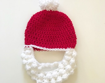 Santa hat with beard! Red and white crochet Father Christmas hat with pom pom attached, and beard sewn on!