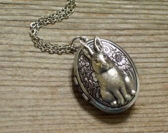 Silver Rabbit Locket, Antiqued Silver Floral Locket, Silver Bunny Locket, Easter Bunny Locket, Oval Silver Locket Pendant Necklace