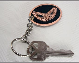 Etched Copper Lorenz Attractor Design Double-Sided Keychain
