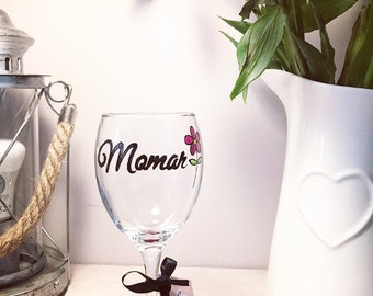 Momar wine glass with pink flower, Hand Painted Wine Gift 2018 FREE POSTAGE UK